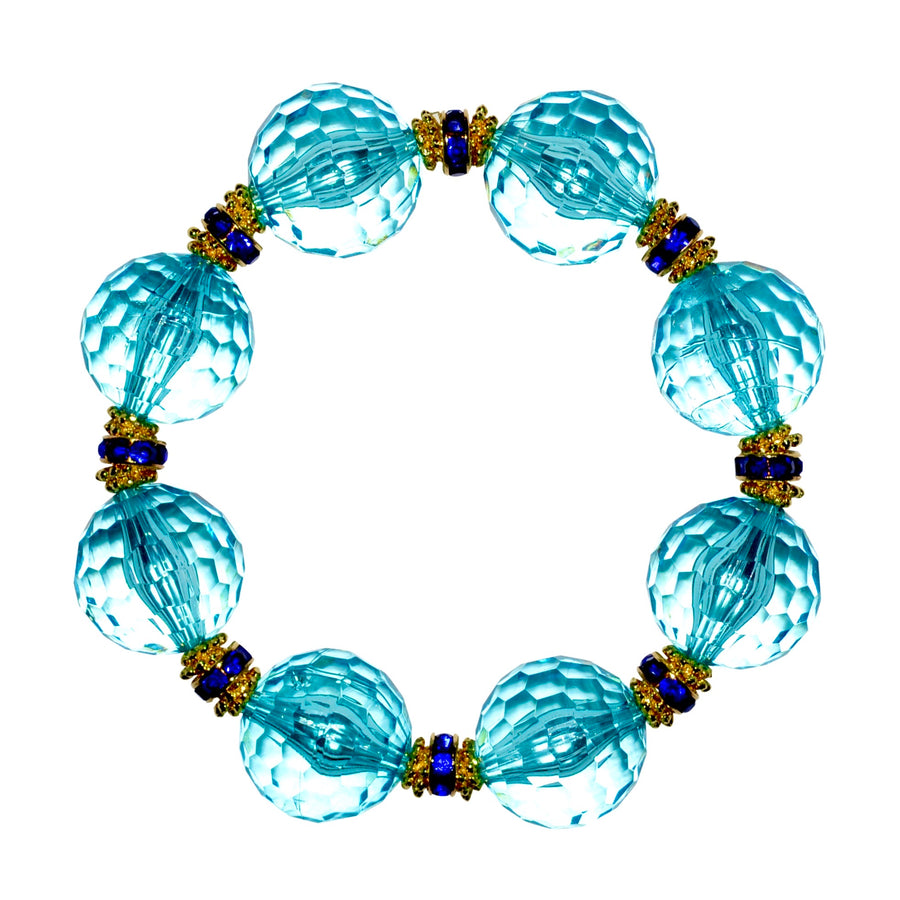 LUCITE STATEMENT BRACELET IN FACETED TURQUOISE