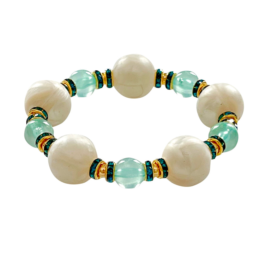 TEGGY STATEMENT BRACELET IN MINT AND IVORY