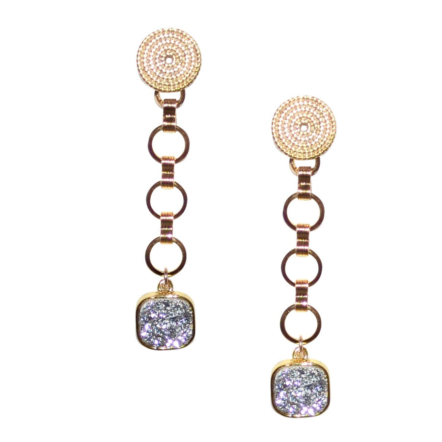 SERENA CHAIN DROP EARRING WITH DRUZY DROP