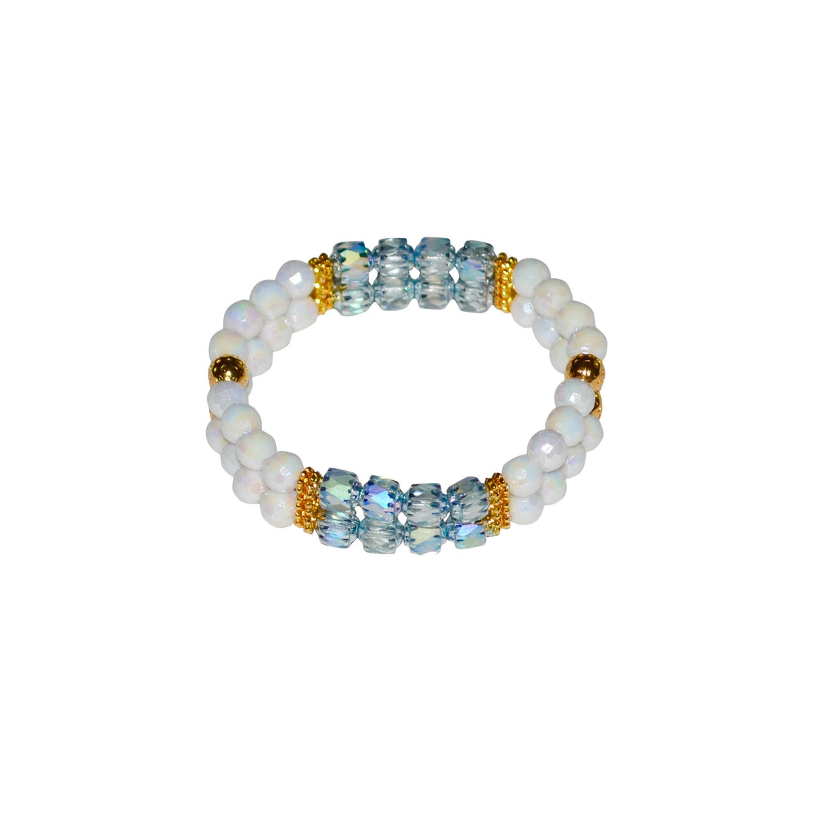 TATE HUDSON MINI CUFF IN WHITE AND LIGHT BLUE GREEN