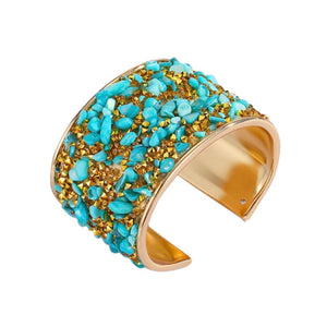 PRE-ORDER- AVAILABLE FOR SHIP 11/3 - GOLD AND TURQUOISE STONE CUFF