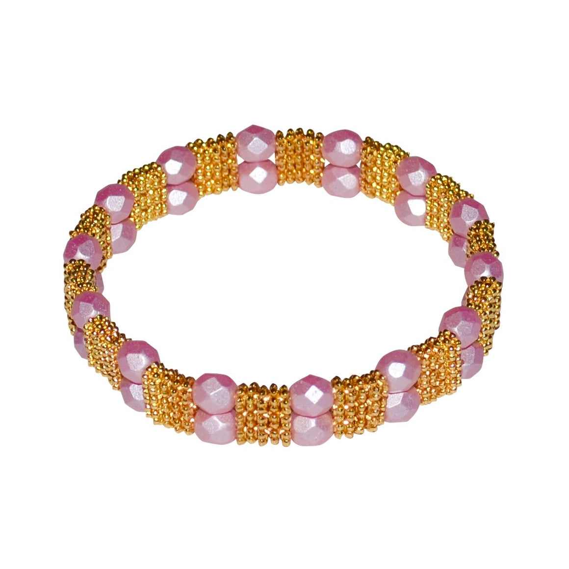 FIONA TEXTURED BRACELET IN GOLD AND PINK