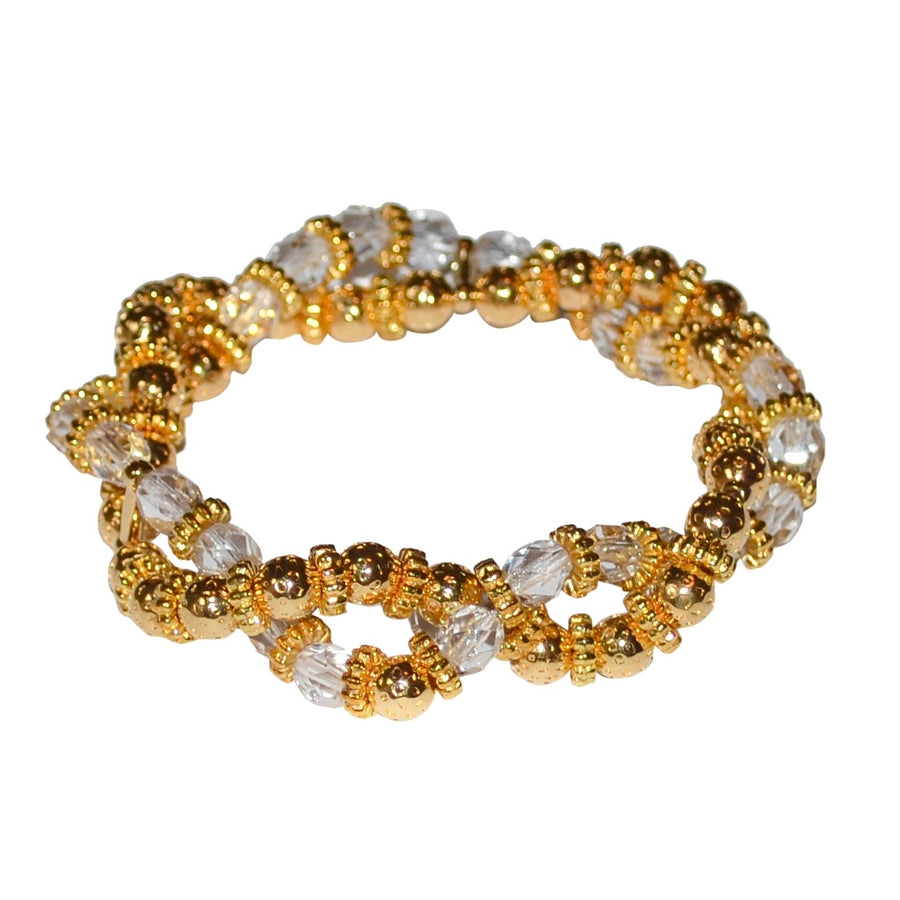 BIANCA LUCITE TWISTED BRACELET IN CLEAR AND GOLD