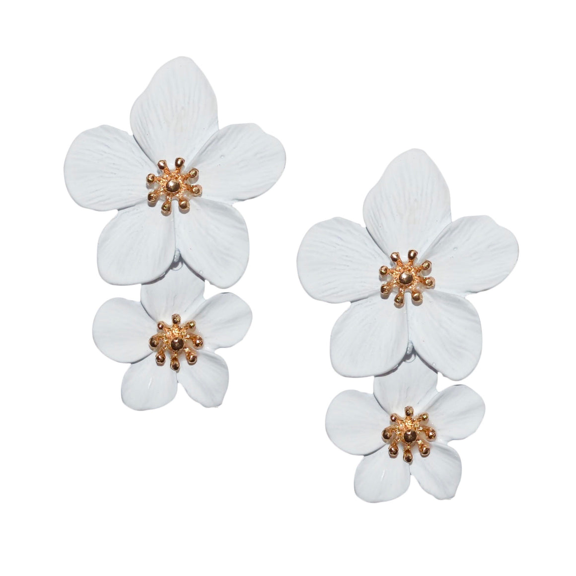 Greta Double Flower Earring in White