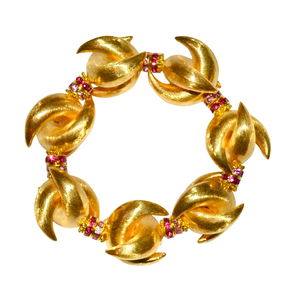 LUNA STATEMENT BRACELET IN GOLD WITH PINK CRYSTAL