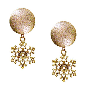 SNOWFLAKE SPARKLE POST MATTE GOLD EARRING