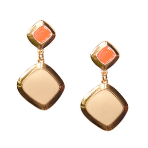 MEREDITH DROP EARRING IN ORANGE AND IVORY