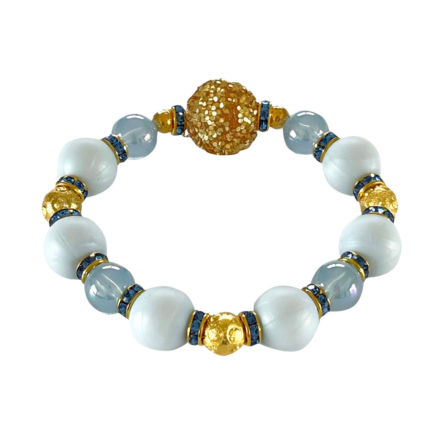 SUMMER BANGLE IN LIGHT BLUE AND GOLD