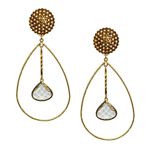 PARKER OVAL EARRING WITH FACETED CRYSTAL