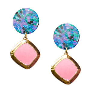 MEREDITH DROP EARRING IN PINK WITH MOSIAC POST