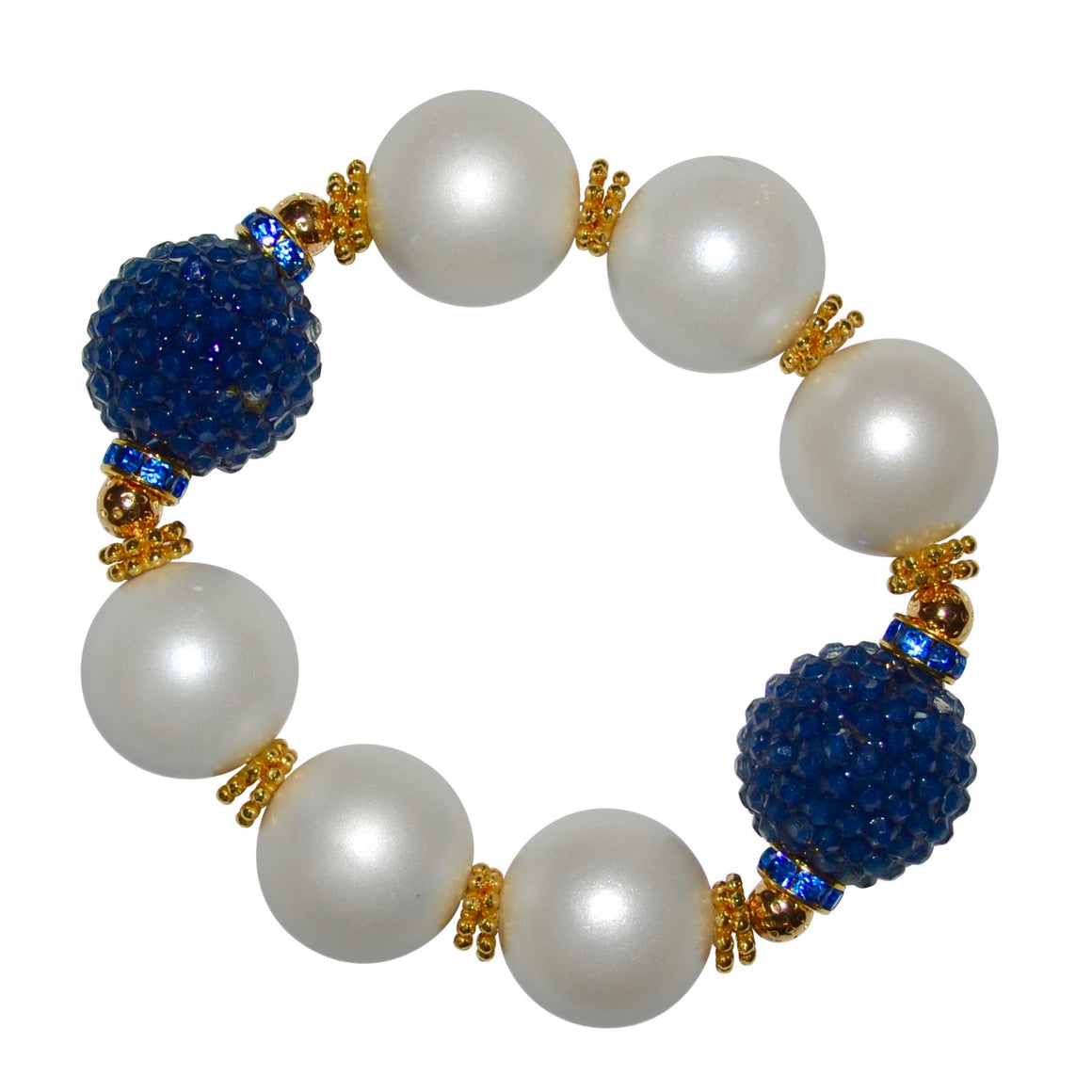 CAMILLA STATEMENT BRACELET IN MATTE PEARL AND NAVY BLUE