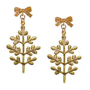 HOLIDAY TREE WITH BOW ON TOP MATTE GOLD EARRING