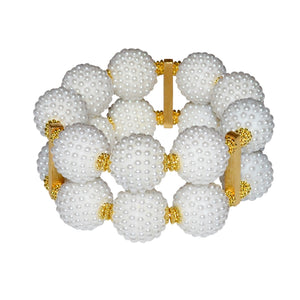 SCARLETT STATEMENT CUFF IN TEXTURED WHITE