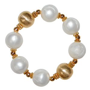 BIANCA STATEMENT BRACELET IN IVORY AND GOLD