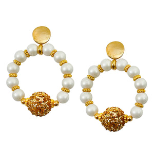 RING EARRING IN PEARL AND GOLD