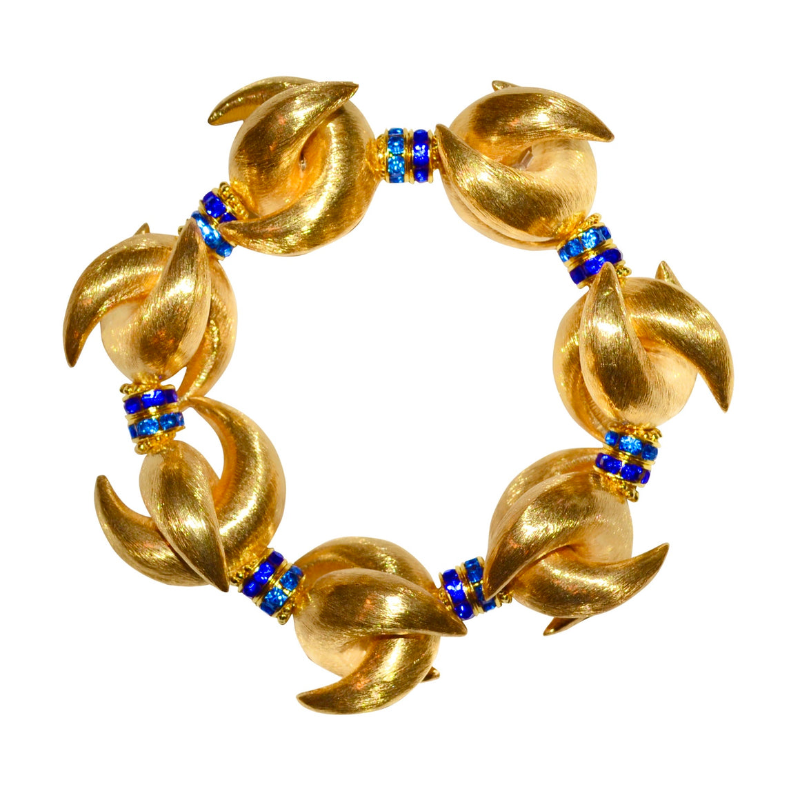 LUNA STATEMENT BRACELET IN GOLD WITH BLUE CRYSTAL