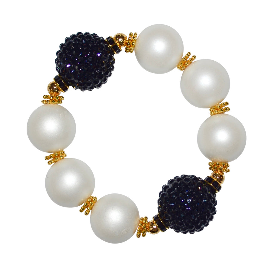 CAMILLA STATEMENT BRACELET IN MATTE PEARL AND BLACK