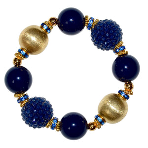 VIVIENNE STATEMENT BRACELET IN NAVY BLUE  AND GOLD