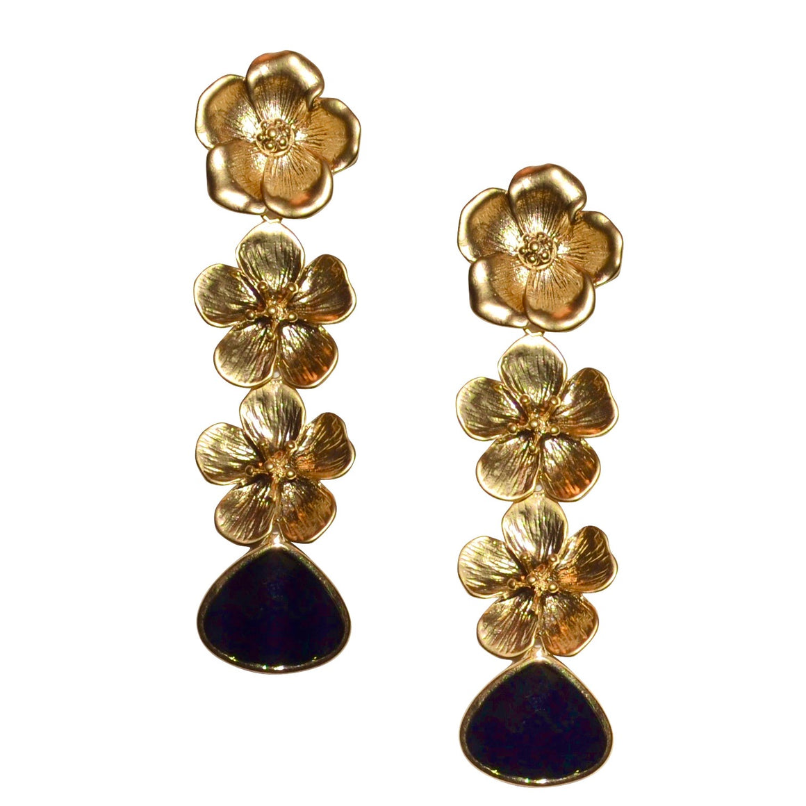 VERITY TRIPLE FLOWER EARRING WITH BLACK CRYSTAL