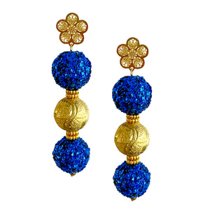 SPRING TRIPLE BALL EARRING IN ROYAL BLUE AND GOLD