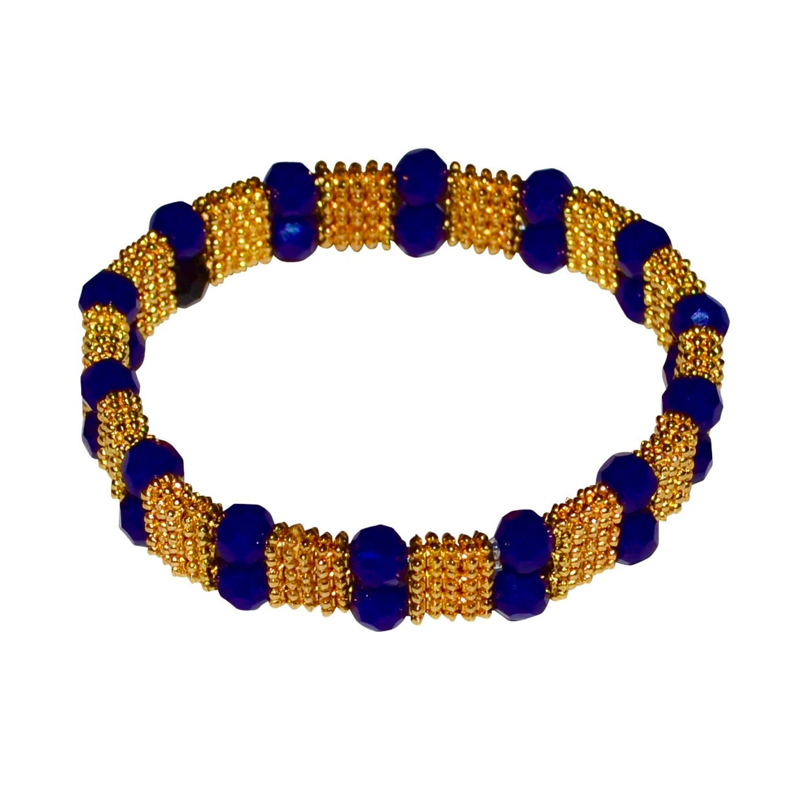 FIONA TEXTURED BRACELET IN GOLD AND DARK COBALT