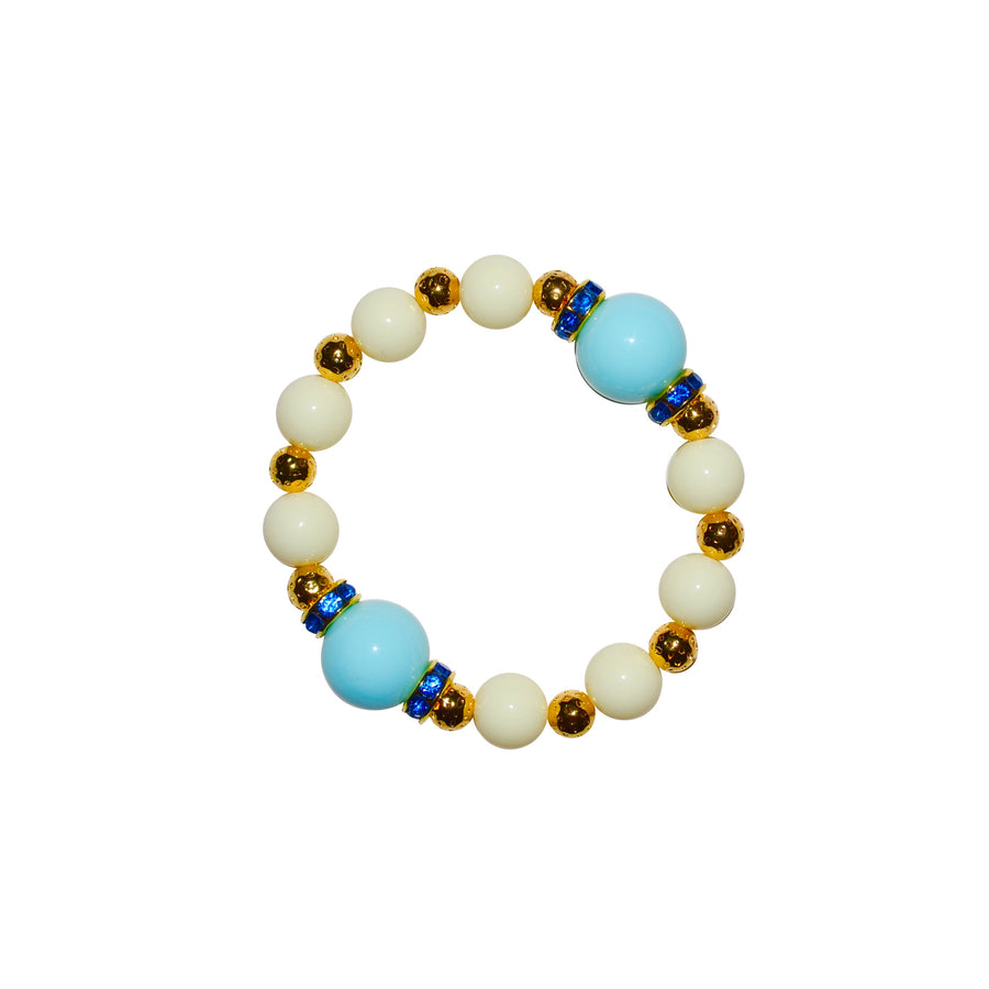 TATE HUDSON GUMBALL BRACELET IN IVORY AND LIGHT BLUE
