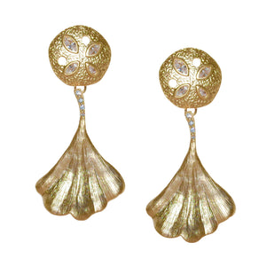 CATRINE MATTE GOLD LOTUS EARRING