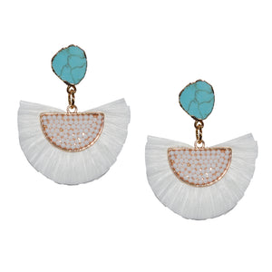 RAFFIA EARRING IN WHITE WITH TURQUOISE STONE POST