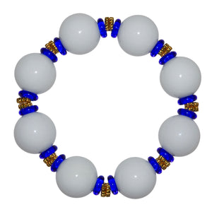 VIVIENNE STATEMENT ANYTIME BRACELET IN WHITE WITH COBALT