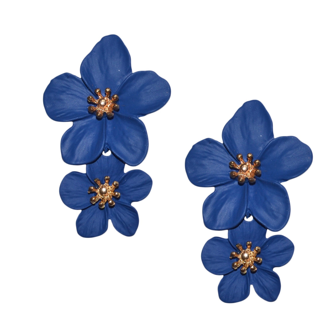 Greta Double Flower Earring in Dark Blue