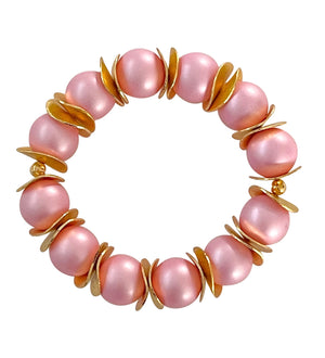 WAVY DISC STATEMENT BRACELET IN LIGHT PINK AND GOLD