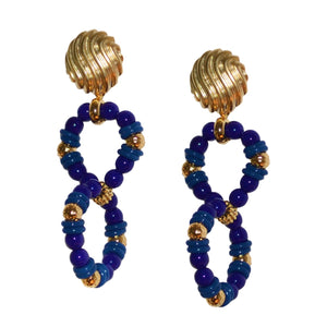 KATE DOUBLE HOOP EARRING IN COBALT