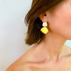 MEREDITH DROP EARRING IN YELLOW AND IVORY