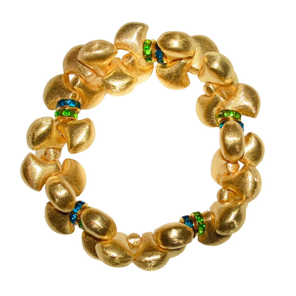 AUDREY BANGLE IN GOLD WITH BLUE AND GREEN CRYSTAL