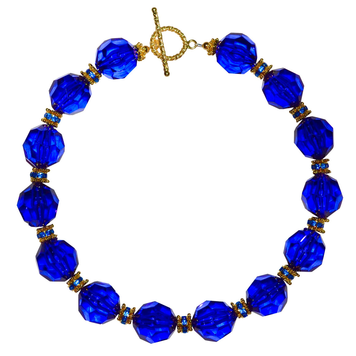 LUCITE NECKLACE IN FACETED COBALT LUCITE
