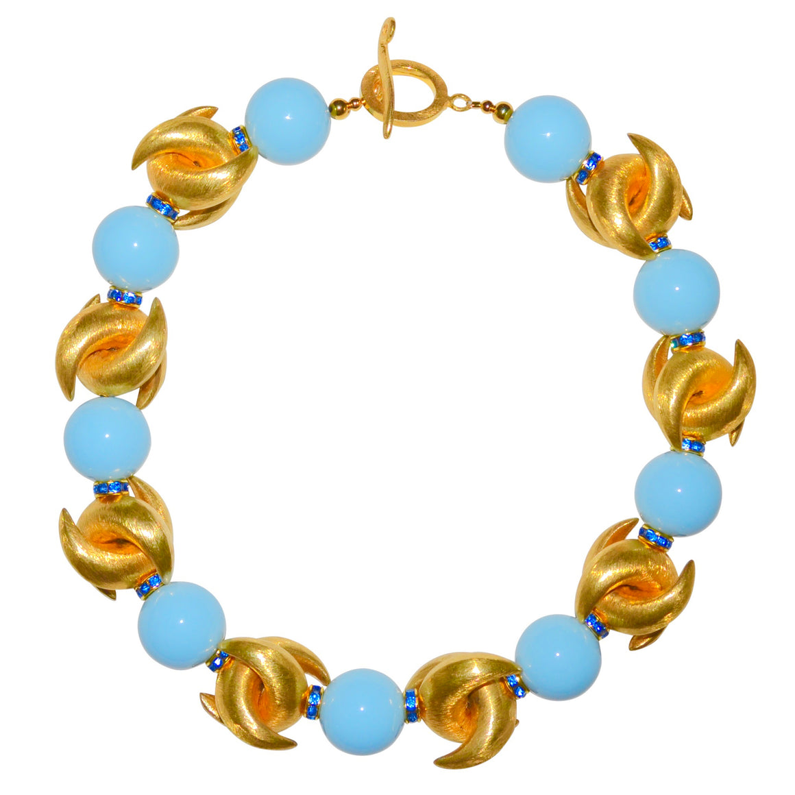LUNA NECKLACE IN GOLD AND LIGHT BLUE