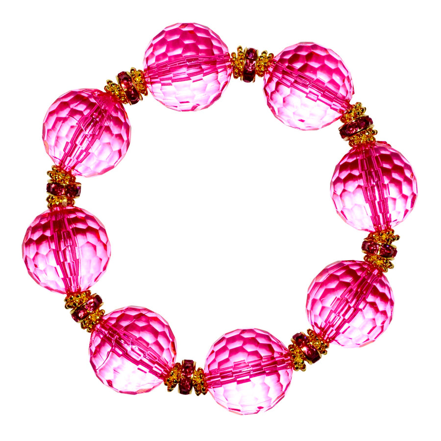 LUCITE STATEMENT BRACELET IN FACETED DARK PINK