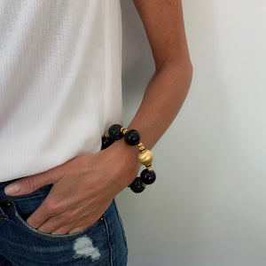 VIVIENNE STATEMENT BRACELET IN BLACK AND GOLD