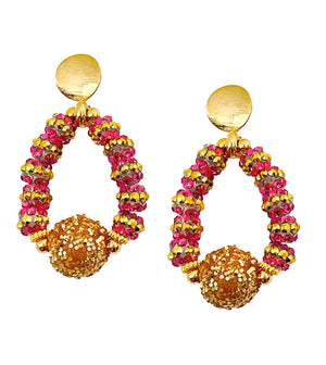 TEARDROP EARRING IN DARK PINK AND GOLD STRIPE