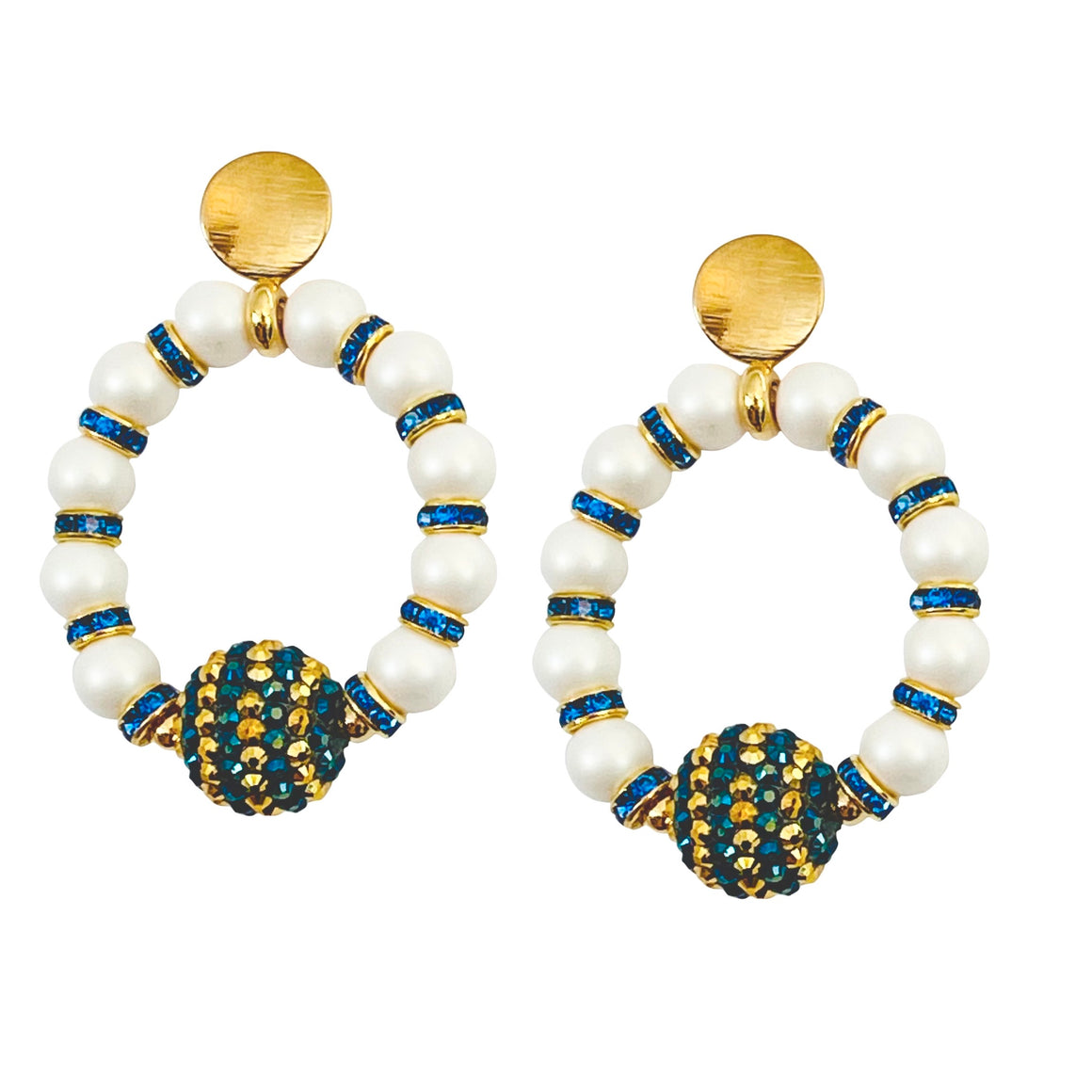 RING EARRING IN PEARL WITH BLUE AND GOLD STRIPED FOCAL