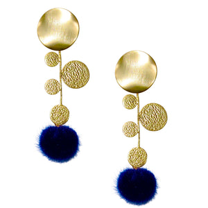 FAXON LONG EARRING WITH NAVY BLUE POM POM