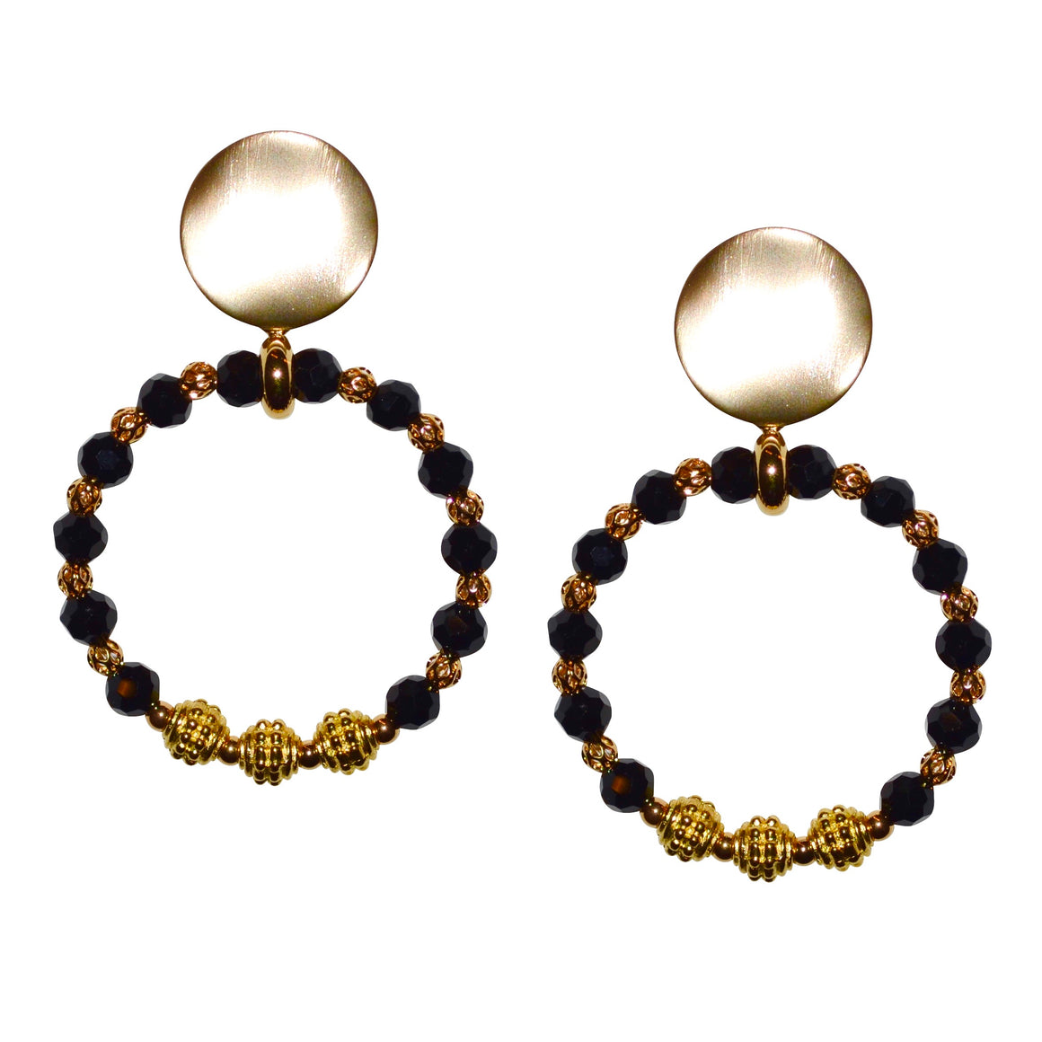 CORA RING EARRING IN BLACK