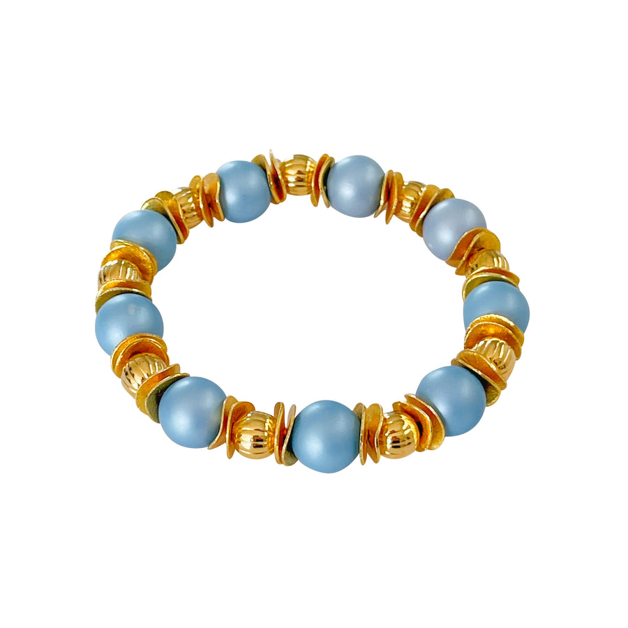 WAVY DISC BANGLE IN LIGHT BLUE AND GOLD