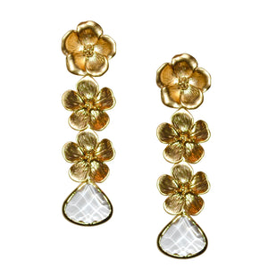 VERITY TRIPLE FLOWER EARRING WITH CLEAR CRYSTAL