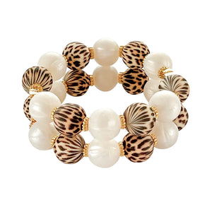 JAMIE CUFF IN LEOPARD AND IVORY PEARL