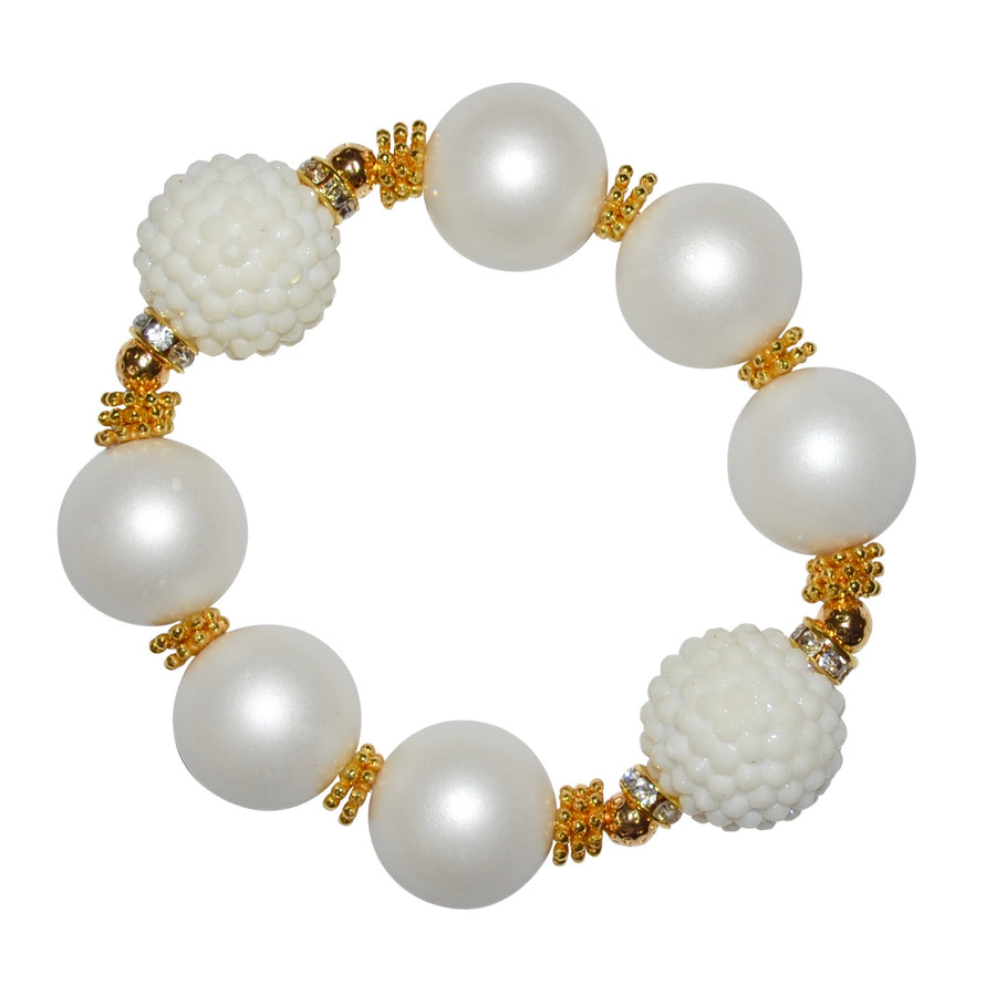 CAMILLA STATEMENT BRACELET IN MATTE PEARL AND WHITE