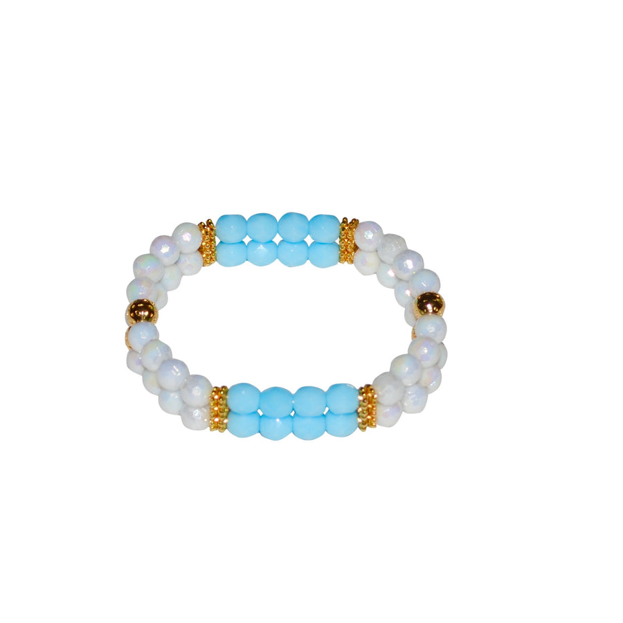 TATE HUDSON MINI CUFF IN WHITE AND LIGHT BLUE