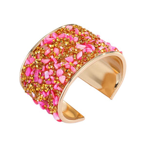 PRE-ORDER- AVAILABLE FOR SHIP 11/3 - GOLD AND PINK STONE CUFF