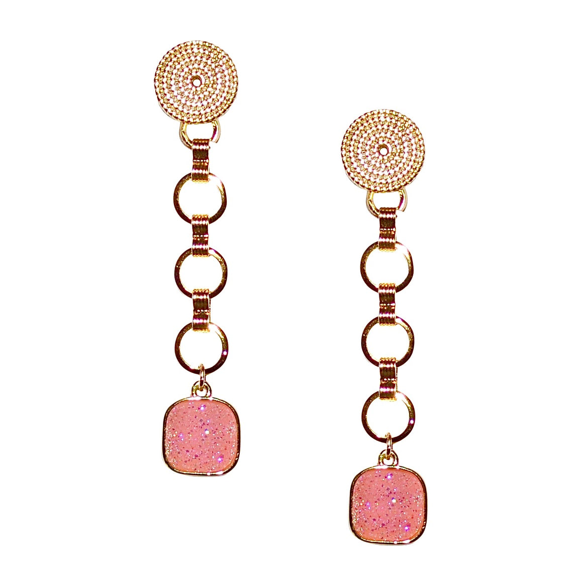 SERENA CHAIN DROP EARRING WITH PINK DRUZY