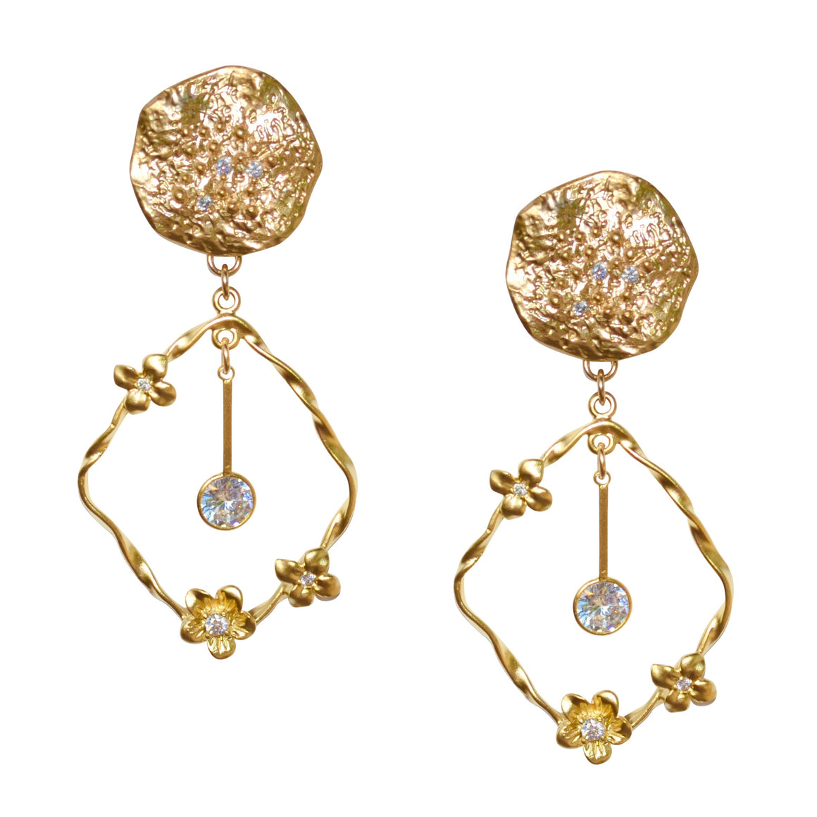 CHARLOTTE TEXTURED OVAL FLOWER EARRING
